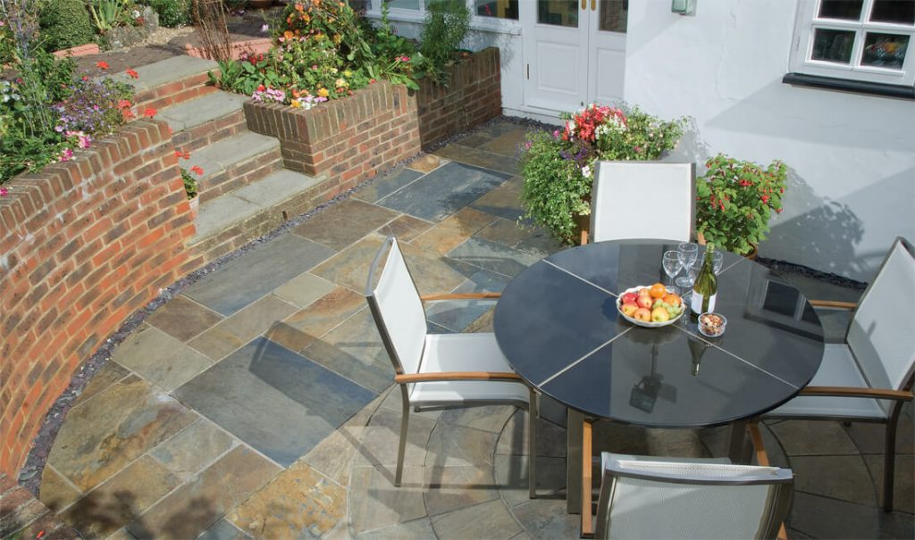 Oyster Shell patio and paving slabs